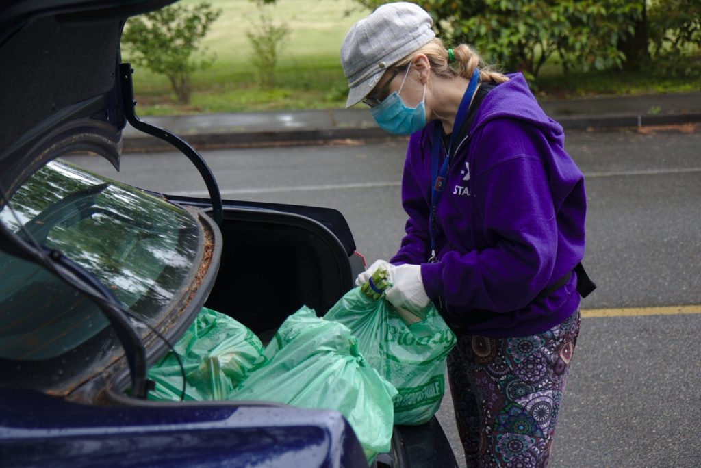 South Seattle College staff woman wearing gloves and a surgical mask ties up green grocery bags of vegetables in a car trunk
