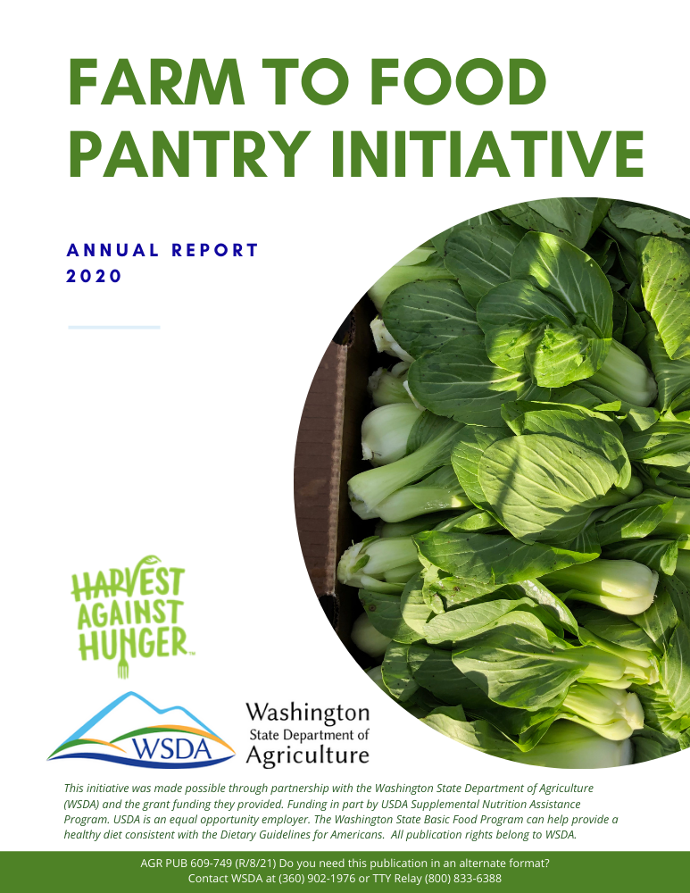 Cover page of Farm to Food Pantry Initiative 2020 annual report with logos of Washington State Department of Agriculture and Harvest Against Hunger, and a photo of bok choy